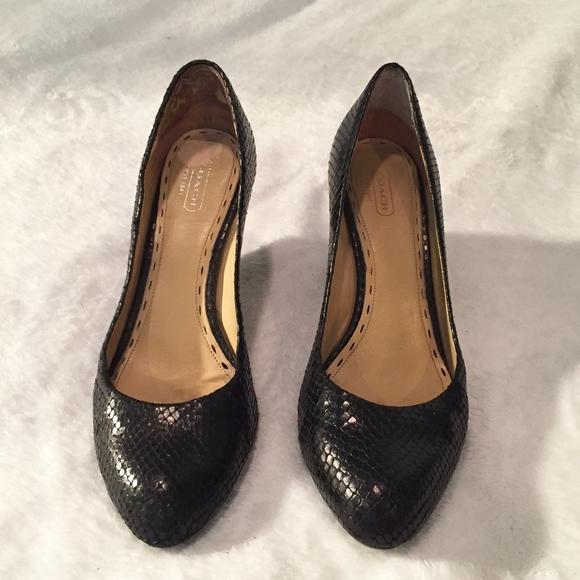 d4715b56948 Coach Snakeskin Black Round Toe Wedge Heels